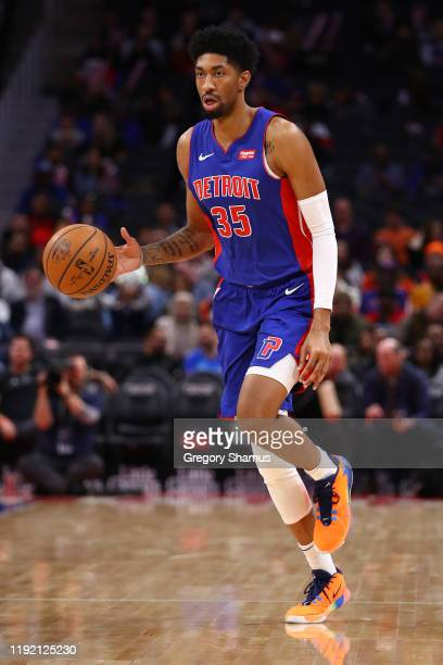 Christian Wood of the Detroit Pistons plays against the Milwaukee Bucks at Little Caesars Arena on December 04 2019 in Detroit Michigan NOTE TO USER...