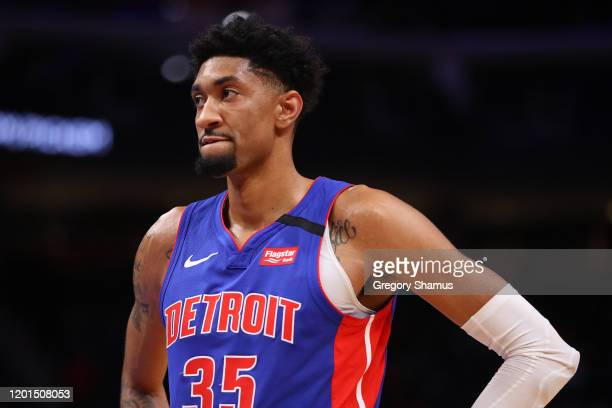Christian Wood of the Detroit Pistons plays against the Sacramento Kings at Little Caesars Arena on January 22 2020 in Detroit Michigan NOTE TO USER...