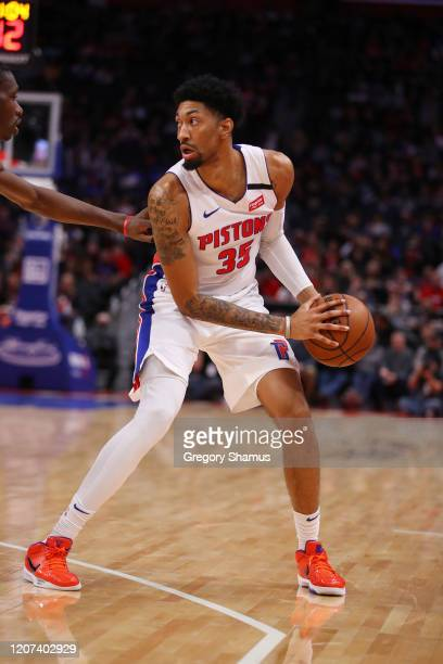 Christian Wood of the Detroit Pistons plays against the Toronto Raptors at Little Caesars Arena on January 31 2020 in Detroit Michigan NOTE TO USER...