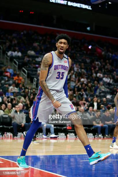 Christian Wood of the Detroit Pistons reacts after dunking against the New York Knicks during the second half at Little Caesars Arena on February 8...