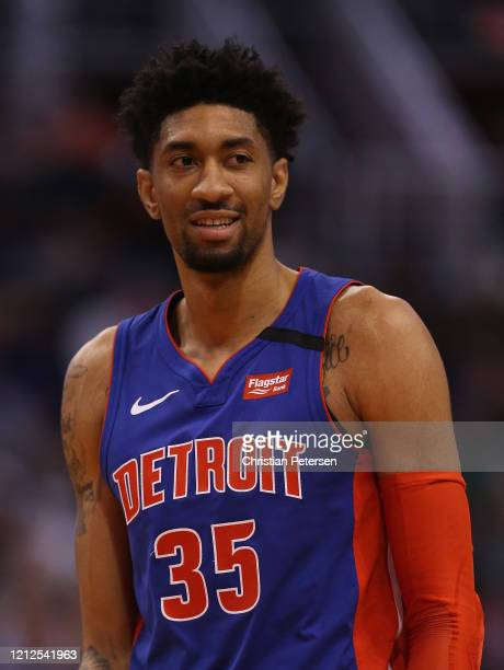 Christian Wood of the Detroit Pistons reacts during the second half of the NBA game against the Phoenix Suns at Talking Stick Resort Arena on...