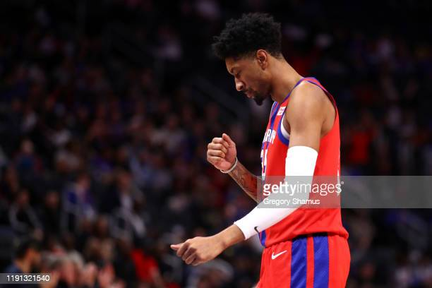 Christian Wood of the Detroit Pistons reacts to his second half three point basket while playing the San Antonio Spurs at Little Caesars Arena on...