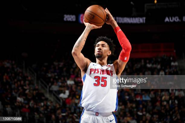 Christian Wood of the Detroit Pistons shoots a free throw during the game against the Utah Jazz on March 7 2020 at Little Caesars Arena in Detroit...