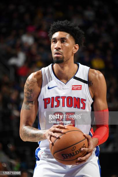 Christian Wood of the Detroit Pistons shoots a free throw during the game agains the Utah Jazz on March 7 2020 at Little Caesars Arena in Detroit...