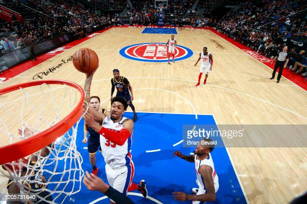 Christian Wood of the Detroit Pistons shoots the ball against the Utah Jazz on March 7 2020 at Little Caesars Arena in Detroit Michigan NOTE TO USER...