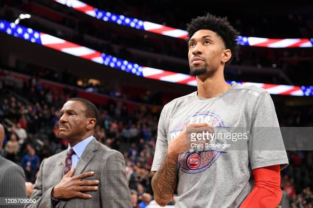 Christian Wood of the Detroit Pistons stands for the National Anthem prior to the game against the Utah Jazz on March 7 2020 at Little Caesars Arena...