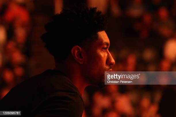 Christian Wood of the Detroit Pistons stands on the court before the start of the NBA game against the Phoenix Suns at Talking Stick Resort Arena on...
