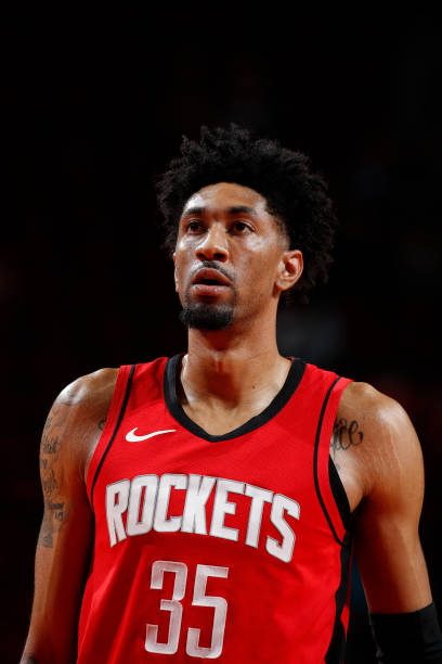 Christian Wood of the Houston Rockets looks on during the game against the Minnesota Timberwolves on April 27 at the Toyota Center in Houston, Texas....