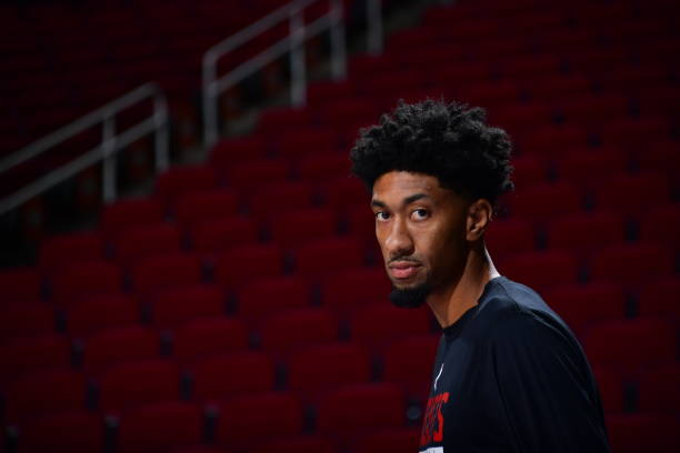 Christian Wood of the Houston Rockets looks on prior to a game against the Phoenix Suns on January 20, 2021 at the Toyota Center in Houston, Texas....