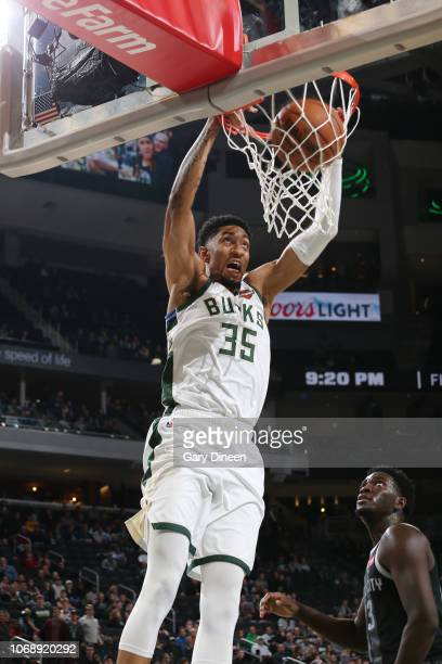 Christian Wood of the Milwaukee Bucks dunks the ball against the Detroit Pistons on December 5 2018 at the Fiserv Forum Center in Milwaukee Wisconsin...