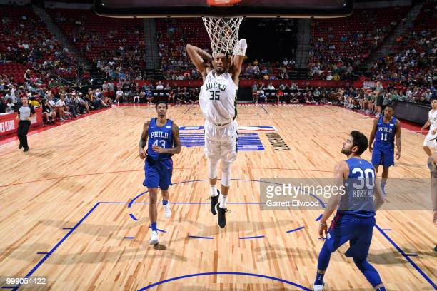 Christian Wood of the Milwaukee Bucks dunks the ball against the Philadelphia 76ers during the 2018 Las Vegas Summer League on July 14 2018 at the...