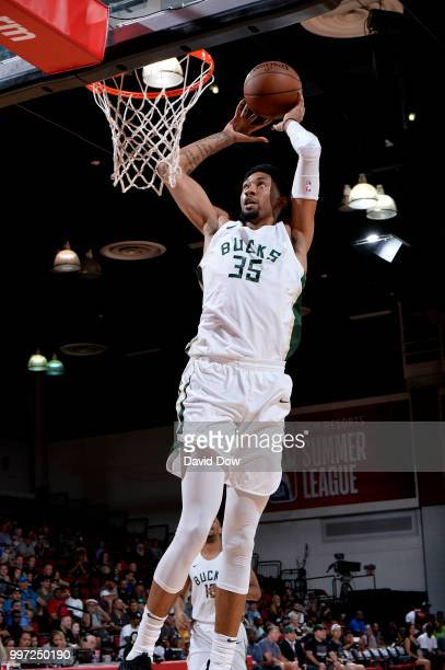 Christian Wood of the Milwaukee Bucks dunks the ball against the San Antonio Spurs during the 2018 Las Vegas Summer League on July 12 2018 at the Cox...