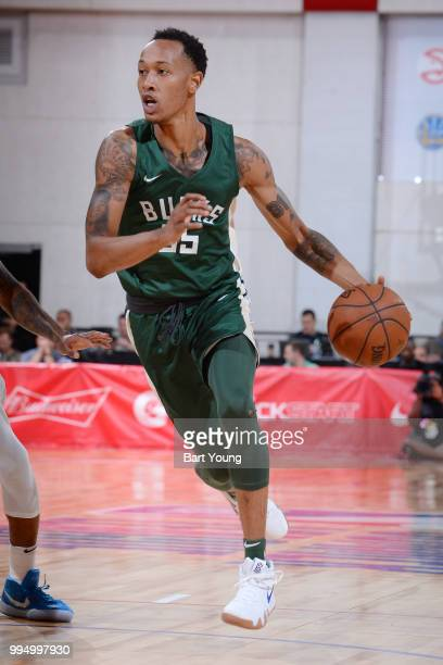 Christian Wood of the Milwaukee Bucks handles the ball during the game against the Denver Nuggets during the 2018 Las Vegas Summer League on July 9...