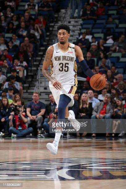 Christian Wood of the New Orleans Pelicans brings the ball up the court on March 26 2019 at the Smoothie King Center in New Orleans Louisiana NOTE TO...