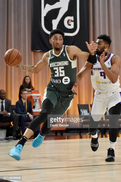 Christian Wood of the Wisconsin Herd drives to the basket against the Stockton Kings during the NBA G League Winter Showcase at Mandalay Bay Events...