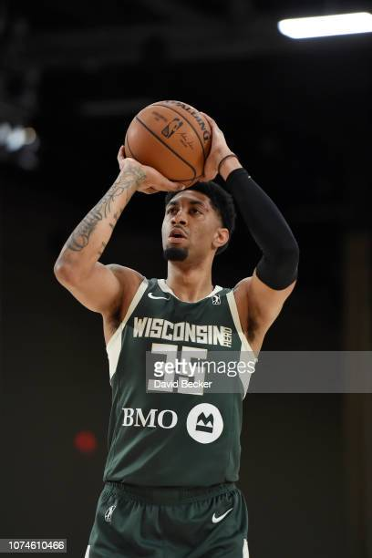 Christian Wood of the Wisconsin Herd shoots a free throw against the Stockton Kings during the NBA G League Winter Showcase at Mandalay Bay Events...