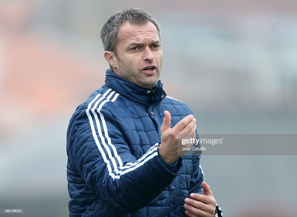 Christian Wuck, coach of Germany gives his instructions during the Tournament of Montaigu qualifier match between U16 Germany and U16 England at the Stade Saint Andre D'Ornay on March 30, 2013 in La Roche-sur-Yon, France.