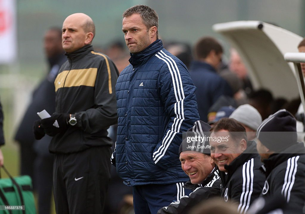 Christian Wuck, coach of Germany looks on during the Tournament of Montaigu qualifier match between U16 Germany and U16 England at the Stade Saint Andre D'Ornay on March 30, 2013 in La Roche-sur-Yon, France.