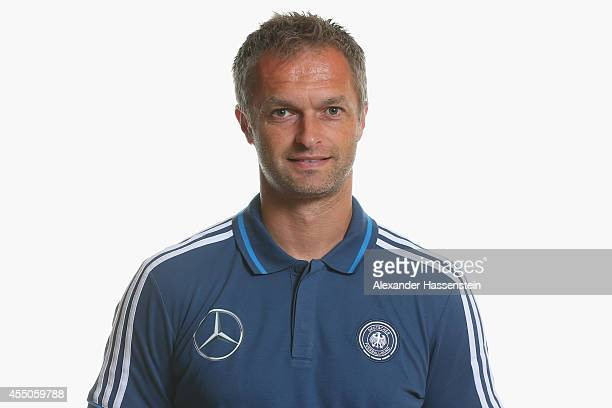 Christian Wueck head coach of the German national team poses during the team presentation of U17 Germany on September 9 2014 in Abensberg Germany