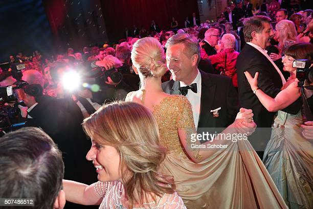Christian Wulff and his wife Bettina Wulff dance during the Semper Opera Ball 2016 at Semperoper on January 29 2016 in Dresden Germany