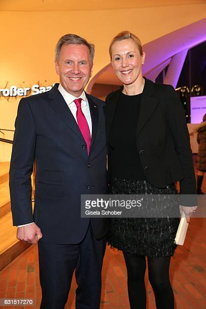 Christian Wulff and his wife Bettina Wulff during the opening concert of the Elbphilharmonie concert hall on January 11 2017 in Hamburg Germany