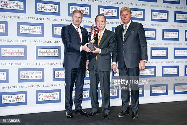 Christian Wulff Ban KiMoon and Karlheinz Koegel during the German Media Award 2016 on March 07 2016 in BadenBaden Germany