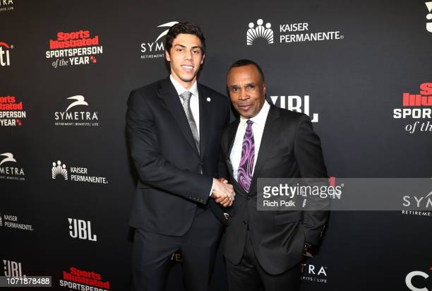 Christian Yelich and Sugar Ray Leonard attend Sports Illustrated 2018 Sportsperson of the Year Awards Show on Tuesday December 11 2018 at The Beverly...