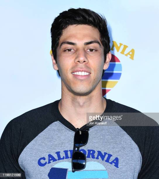 Christian Yelich attends California Strong Celebrity Softball Game at Pepperdine University Baseball Field on January 12 2020 in Malibu California