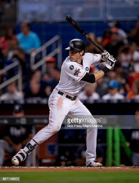 Christian Yelich of the Miami Marlins at bat during the game against the Atlanta Braves at Marlins Park on October 1 2017 in Miami Florida