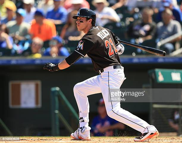 Christian Yelich of the Miami Marlins at bat during the spring training game against the New York Mets on March 15 2016 in Jupiter Florida