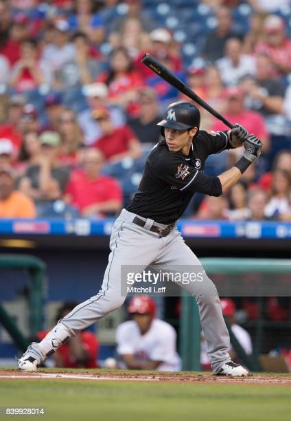 Christian Yelich of the Miami Marlins bats against the Philadelphia Phillies at Citizens Bank Park on August 23 2017 in Philadelphia Pennsylvania