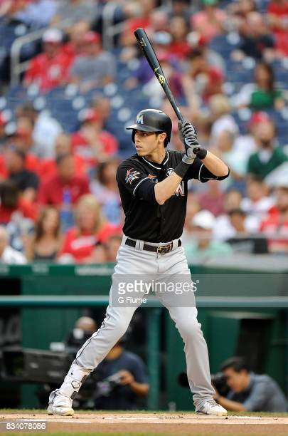 Christian Yelich of the Miami Marlins bats against the Washington Nationals at Nationals Park on August 10 2017 in Washington DC
