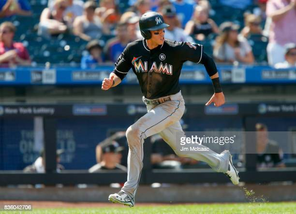 Christian Yelich of the Miami Marlins in action against the New York Mets at Citi Field on August 20 2017 in the Flushing neighborhood of the Queens...