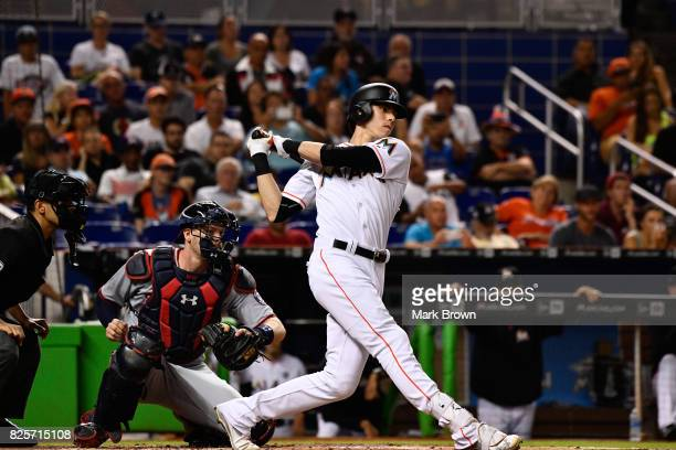Christian Yelich of the Miami Marlins in action during the game between the Miami Marlins and the Washington Nationals at Marlins Park on July 31...