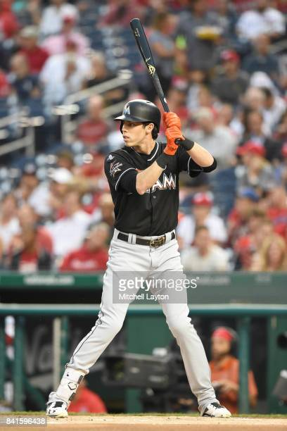 Christian Yelich of the Miami Marlins prepares for a pitch during a baseball game against the Washington Nationals at Nationals Park on August 28...