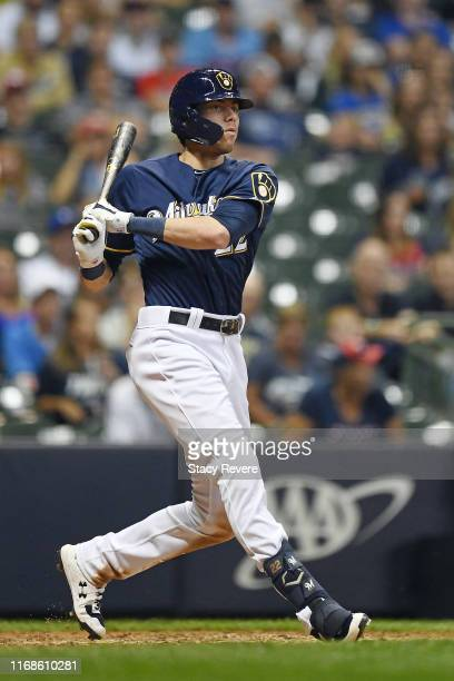 Christian Yelich of the Milwaukee Brewers at bat during a game against the Minnesota Twins at Miller Park on August 13, 2019 in Milwaukee, Wisconsin.