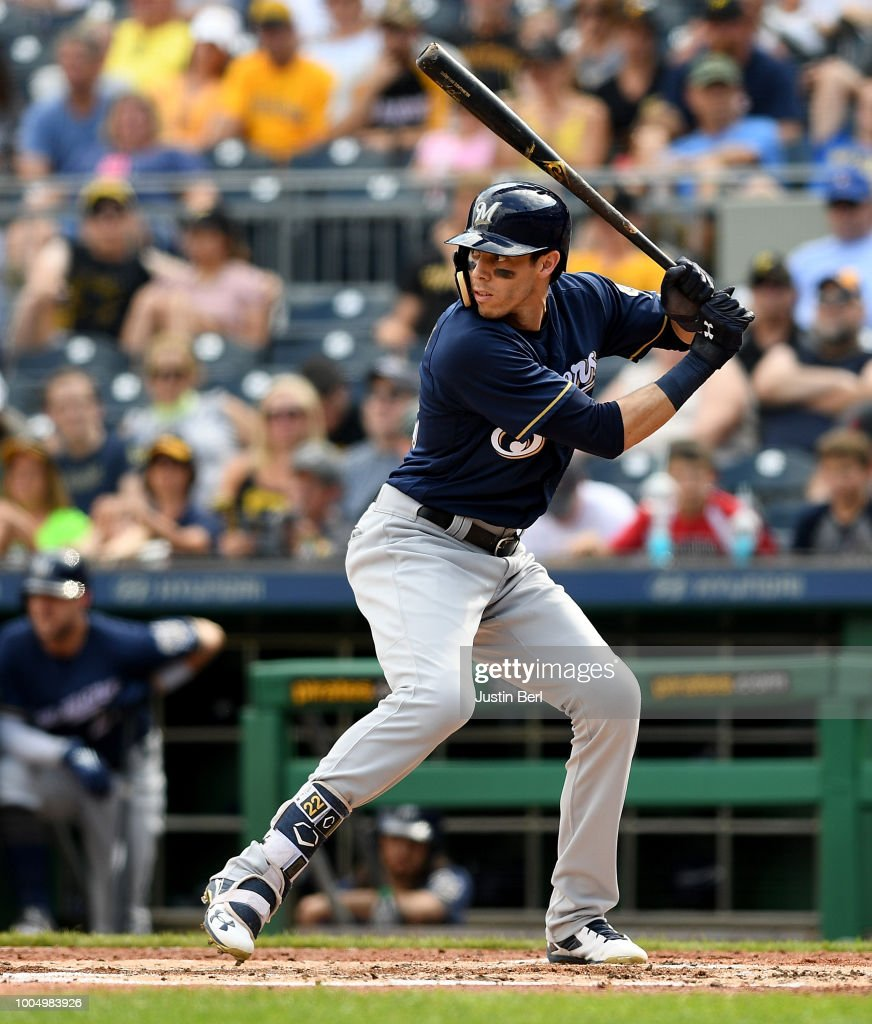 Milwaukee Brewers V Pittsburgh Pirates: Christian Yelich Of The Milwaukee Brewers At Bat During