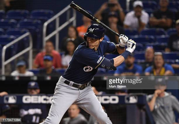 Christian Yelich of the Milwaukee Brewers at bat in the first inning against the Miami Marlins at Marlins Park on September 09 2019 in Miami Florida