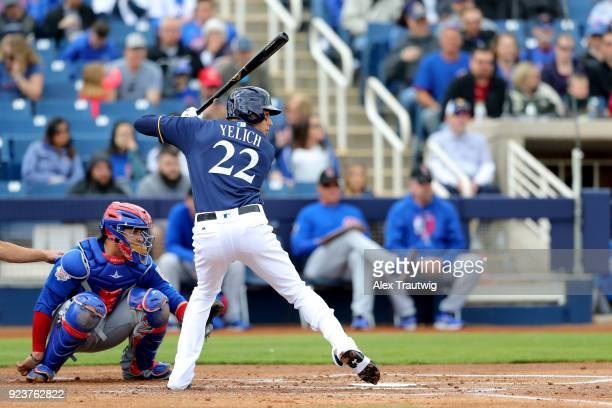 Christian Yelich of the Milwaukee Brewers bats during a game against the Chicago Cubs on Friday February 23 2018 at the Maryvale Baseball Park in...