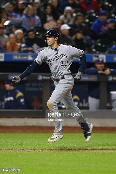 Christian Yelich of the Milwaukee Brewers celebrates after hitting a home run in the fourth inning against the New York Mets at Citi Field on April...