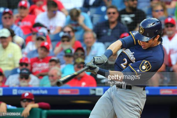 Christian Yelich of the Milwaukee Brewers hits a home run during the eighth inning of a game against the Philadelphia Phillies at Citizens Bank Park...