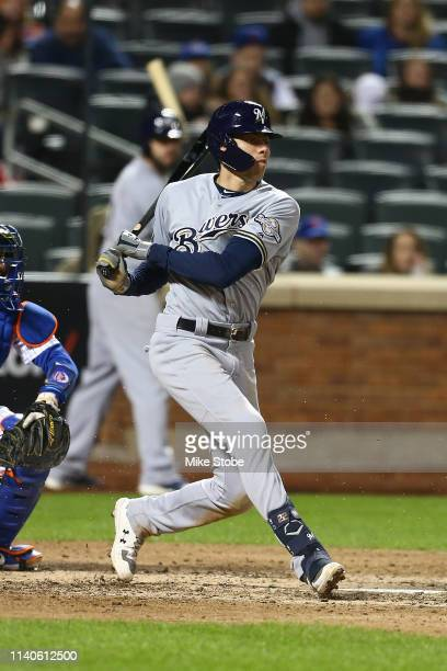 Christian Yelich of the Milwaukee Brewers hits a home run in the fourth inning against the New York Mets at Citi Field on April 27, 2019 in New York...