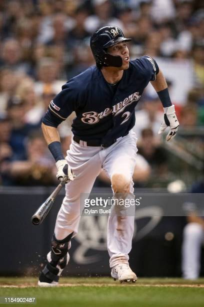 Christian Yelich of the Milwaukee Brewers hits a home run in the sixth inning against the Pittsburgh Pirates at Miller Park on June 09, 2019 in...