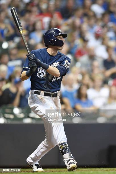 Christian Yelich of the Milwaukee Brewers hits a two run home run against the Washington Nationals during the fifth inning of a game at Miller Park...