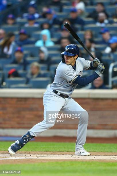 Christian Yelich of the Milwaukee Brewers in action against the New York Mets at Citi Field on April 27, 2019 in New York City. Milwaukee Brewers...