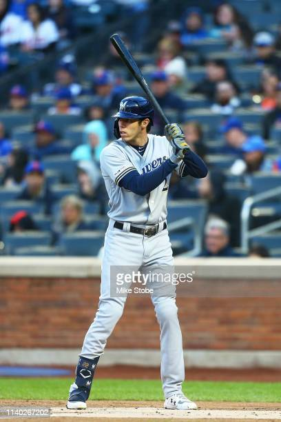 Christian Yelich of the Milwaukee Brewers in action against the New York Mets at Citi Field on April 27 2019 in New York City Milwaukee Brewers...