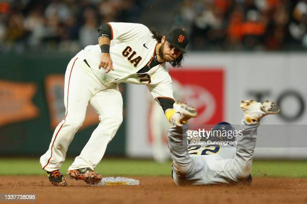 Christian Yelich of the Milwaukee Brewers is tagged out while stealing second base by Brandon Crawford of the San Francisco Giants in the top of the...