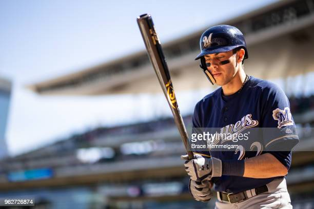 Christian Yelich of the Milwaukee Brewers looks on against the Minnesota Twins on May 20 2018 at Target Field in Minneapolis Minnesota The Twins...