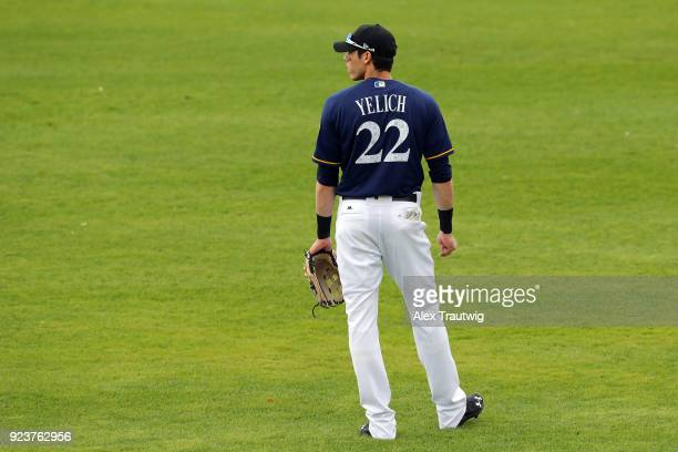 Christian Yelich of the Milwaukee Brewers looks on during a game against the Chicago Cubs on Friday February 23 2018 at the Maryvale Baseball Park in...