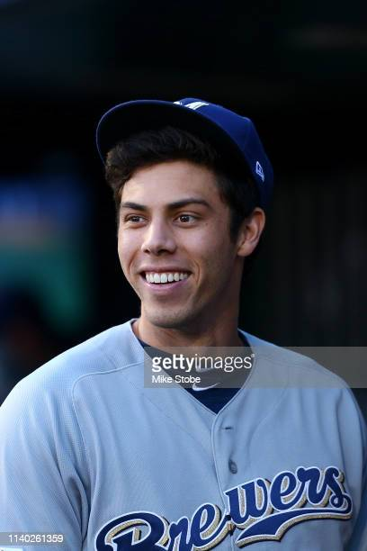 Christian Yelich of the Milwaukee Brewers looks on from the dugout prior to the start of the game against the New York Mets at Citi Field on April 27...